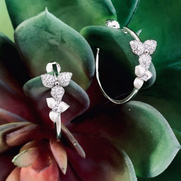 Vixi Jewellery | Sterling Silver Designer Jewellery | Desert Flower hoops and succulent