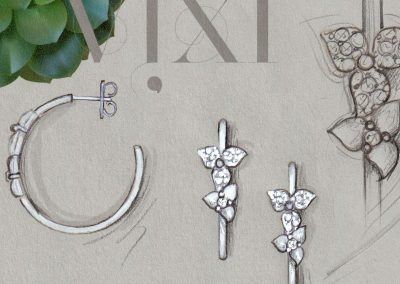 Vixi Jewellery | Sterling Silver Designer Jewellery | Desert Flower sketch