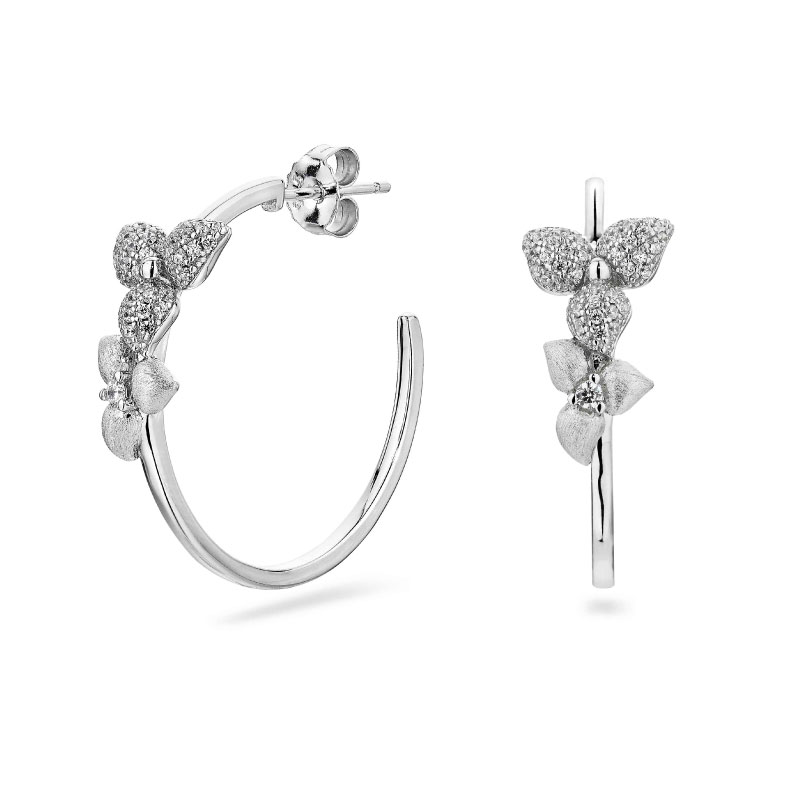 Vixi Jewellery | Sterling Silver Designer Jewellery | Desert Flower Hoops