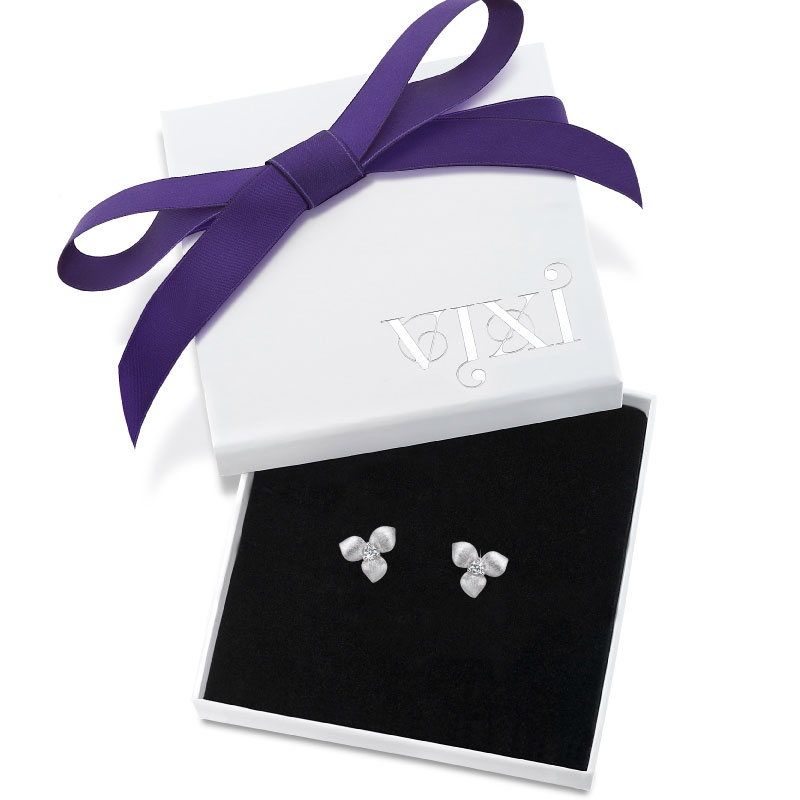 Vixi Jewellery | Sterling Silver Designer Jewellery | Desert Flower earrings in box