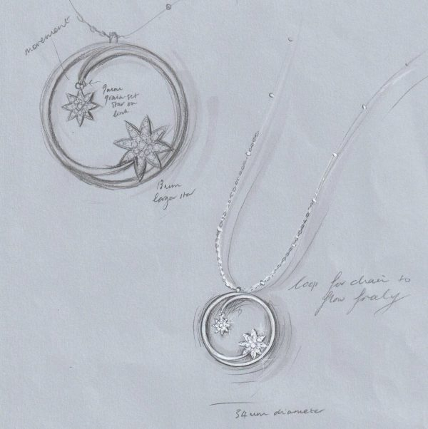 Vixi Jewellery | Sterling Silver Designer Jewellery | Nova Necklace Sketch