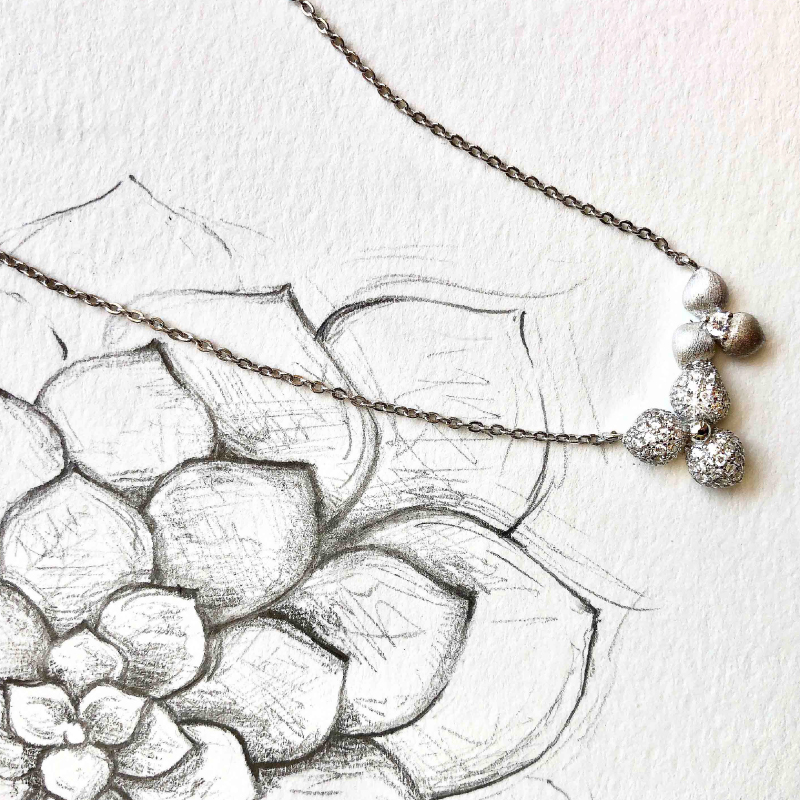 Vixi Jewellery | Sterling Silver Designer Jewellery | Desert Flower pendant and sketch