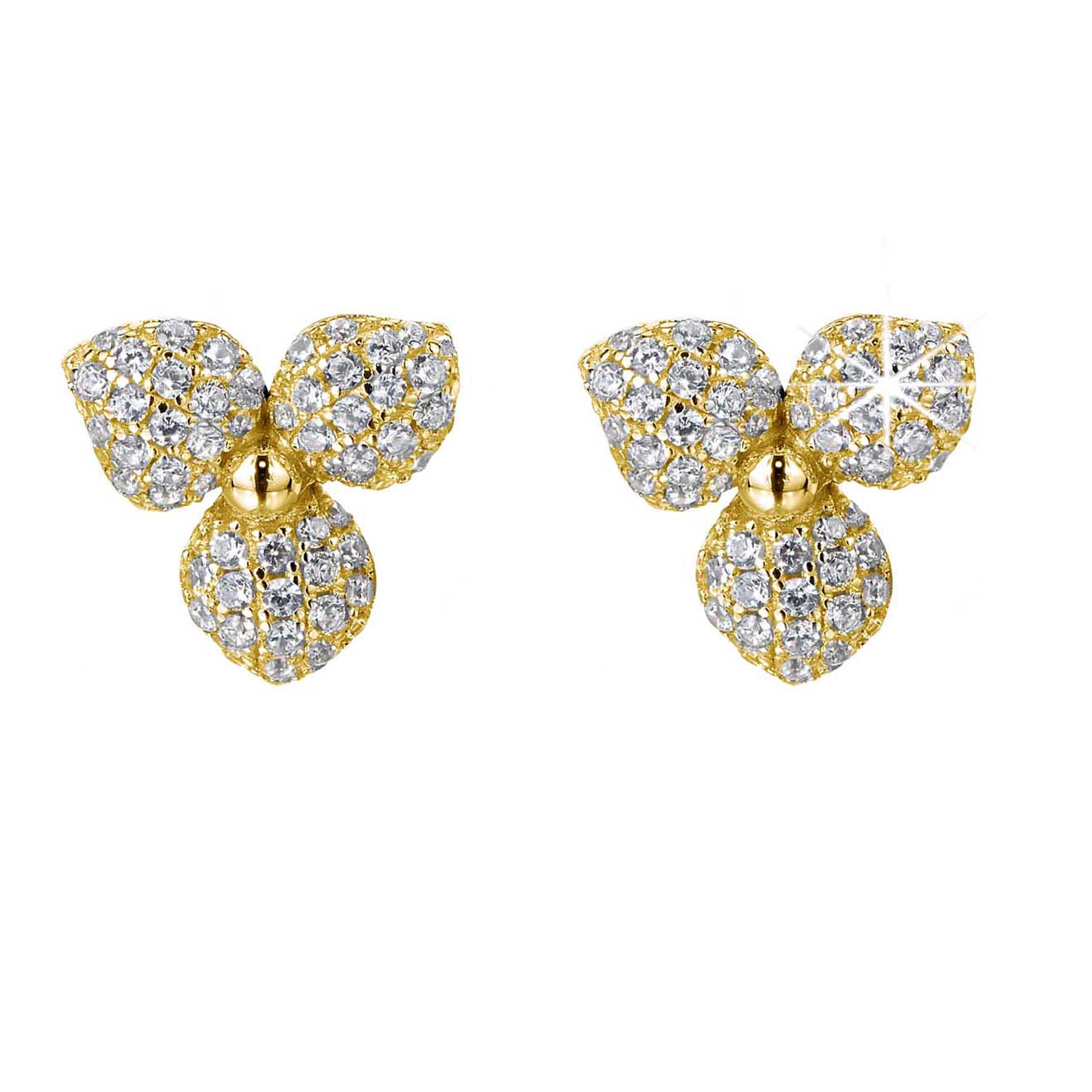 Desert Flowers large pave stud earrings, yellow, gold-plated sterling silver
