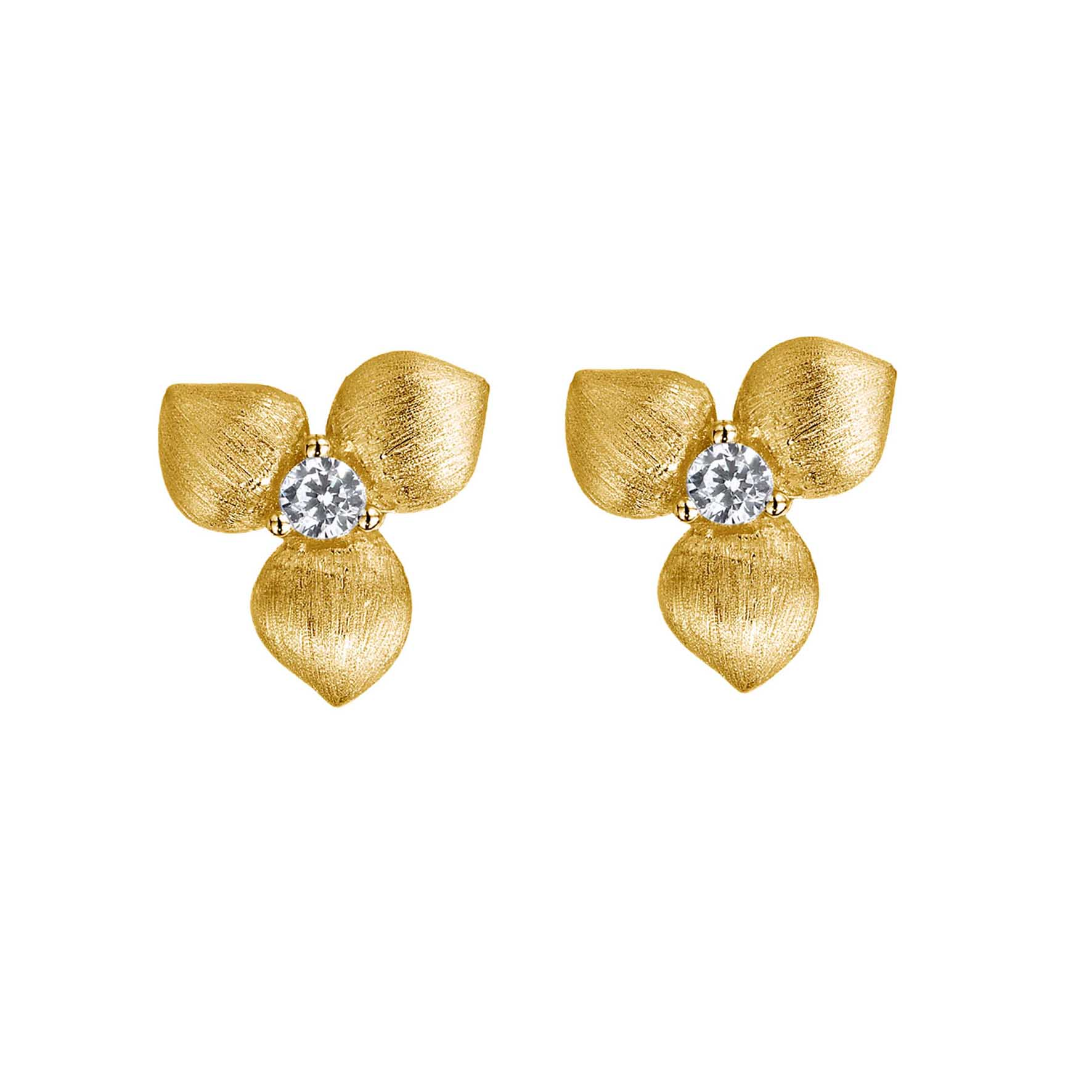Desert Flowers stud earrings, yellow, gold-plated sterling silver